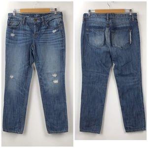LOFT Distressed Button-fly Boyfriend Jeans